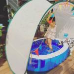 高岡早紀さん、娘ちゃん用☆自宅プールが可愛いっ>>サンシェード付き/ガーランド付きがいいね!
